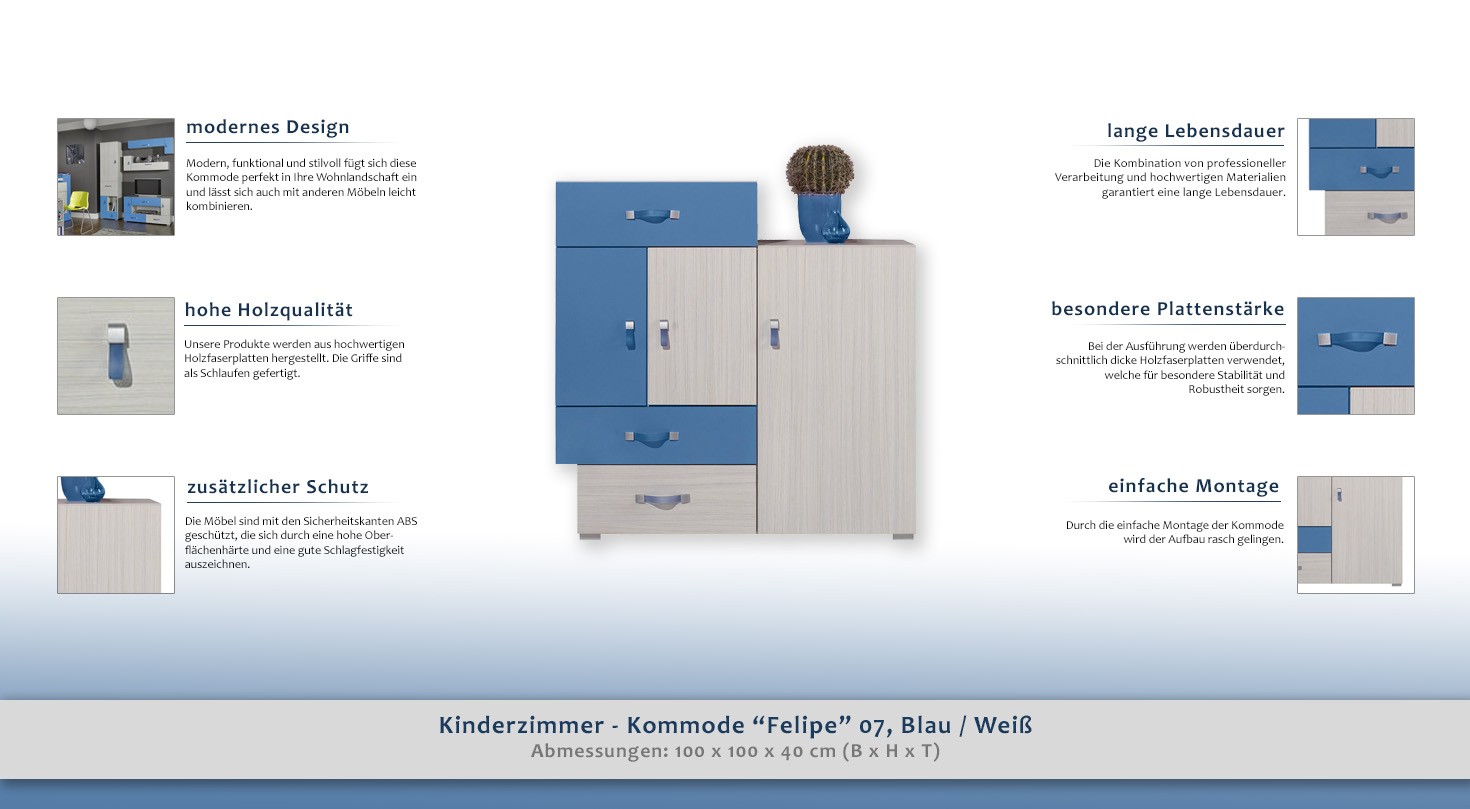 Kinderzimmer kommode felipe 07 blau wei for Kommode 80 x 100 x 40
