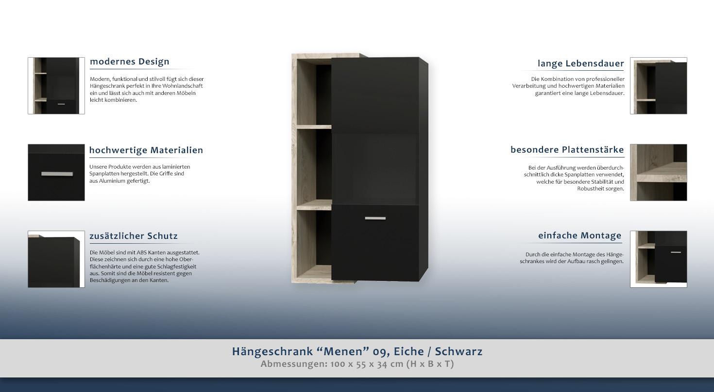 Hängeschrank Menen 09, Eiche / Schwarz - Abmessungen: 100 x 55 x 34 ...