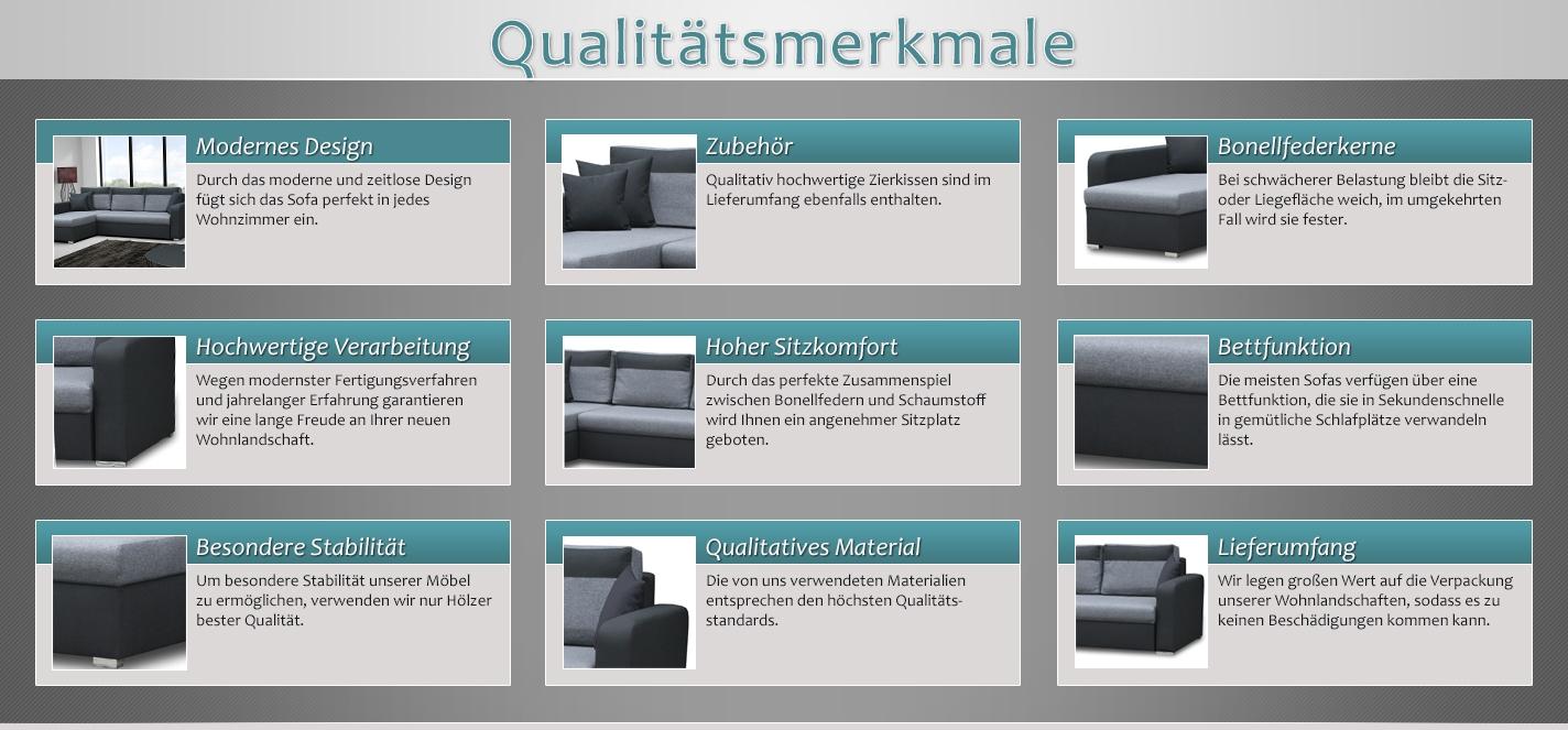ecksofa loris mit ottomane links in grau schwarz mit. Black Bedroom Furniture Sets. Home Design Ideas
