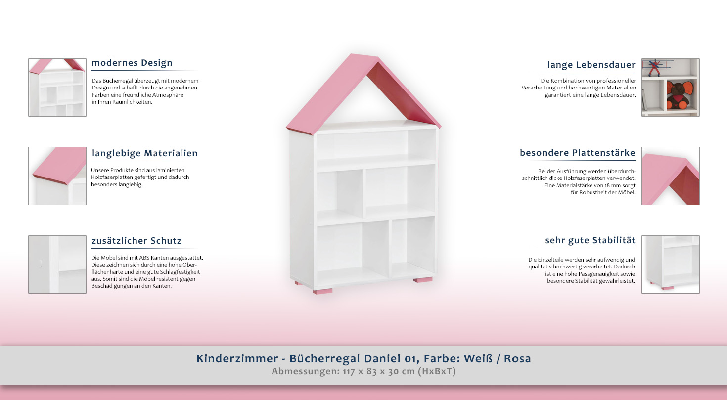 kinderzimmer b cherregal daniel 01 farbe wei rosa. Black Bedroom Furniture Sets. Home Design Ideas