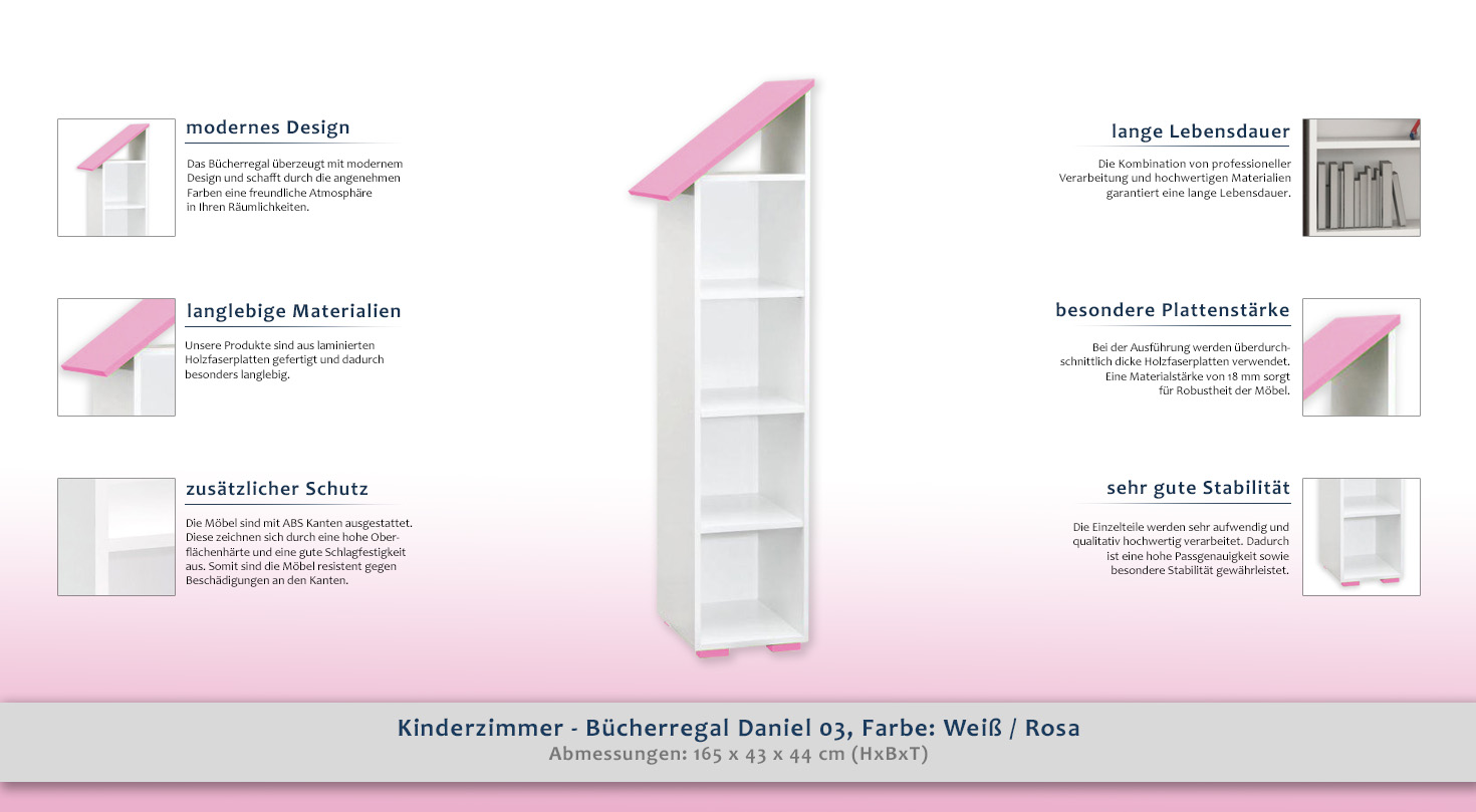kinderzimmer b cherregal daniel 03 farbe wei rosa. Black Bedroom Furniture Sets. Home Design Ideas