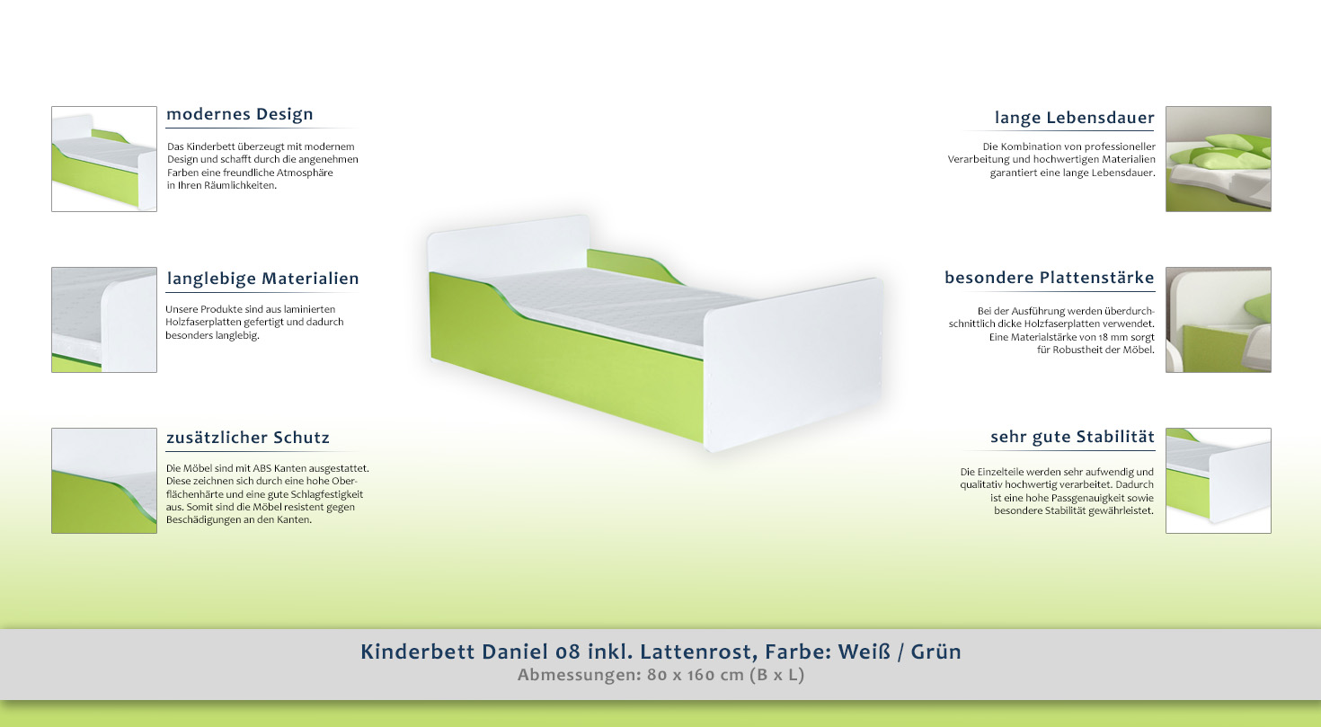 kinderbett daniel 08 inkl lattenrost farbe wei gr n 80 x 160 cm b x l. Black Bedroom Furniture Sets. Home Design Ideas