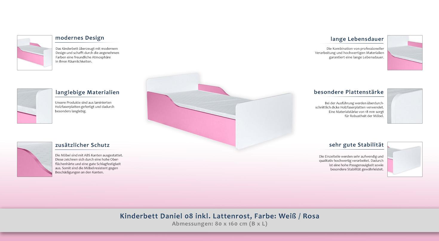 kinderbett daniel 08 inkl lattenrost farbe wei rosa 80 x 160 cm b x l. Black Bedroom Furniture Sets. Home Design Ideas