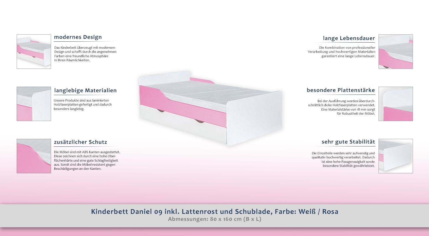 kinderbett daniel 09 inkl lattenrost und schublade farbe wei rosa 80 x 160 cm b x l. Black Bedroom Furniture Sets. Home Design Ideas