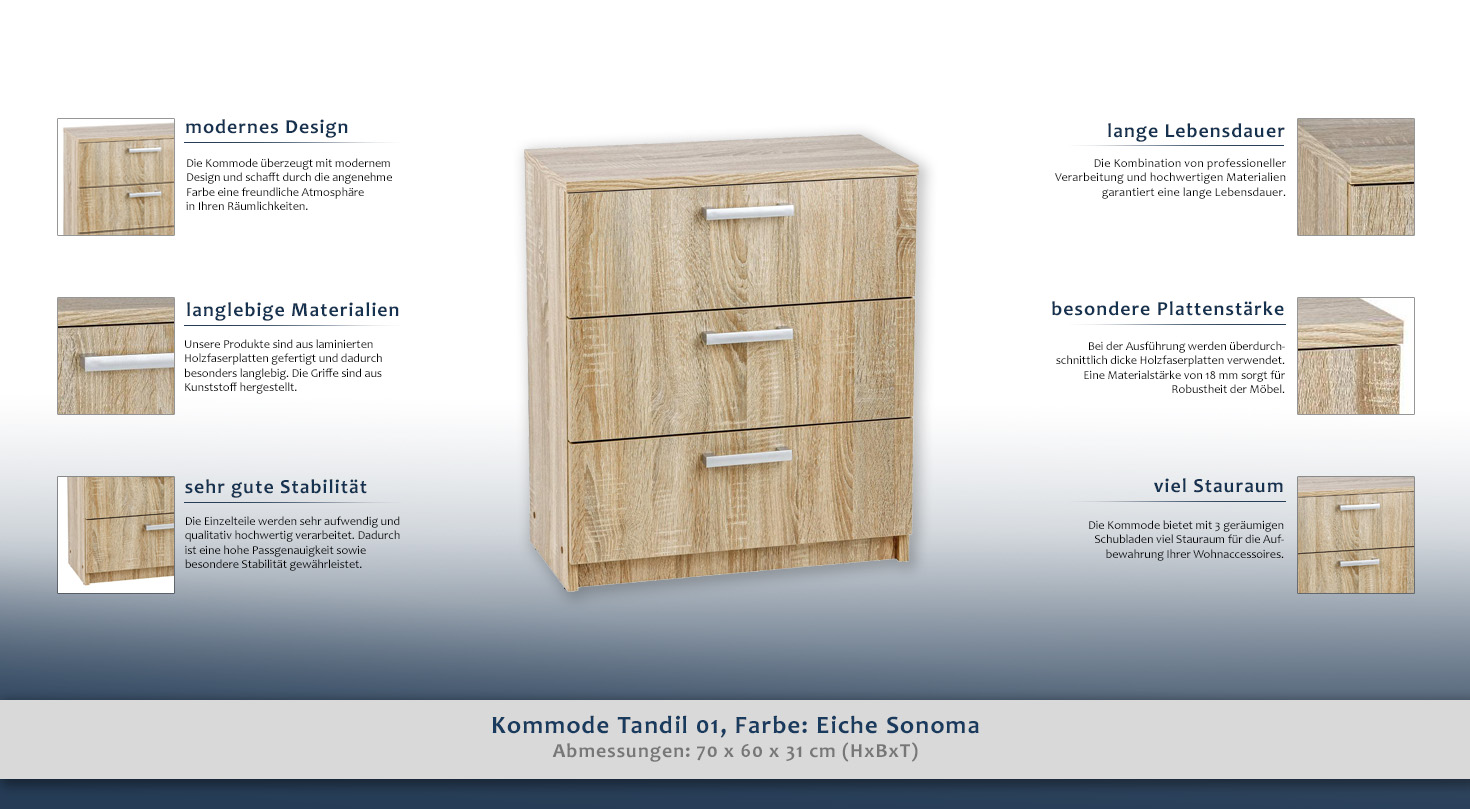 kommode tandil 02 farbe eiche sonoma 70 x 60 x 31 cm h x b x t. Black Bedroom Furniture Sets. Home Design Ideas