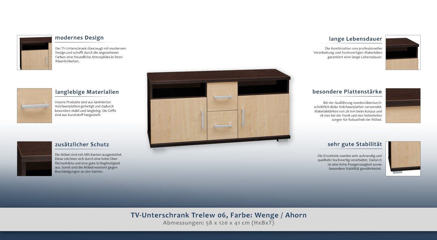 tv unterschrank trelew 06 farbe wenge ahorn 58 x 120 x 41 cm h x b x t. Black Bedroom Furniture Sets. Home Design Ideas