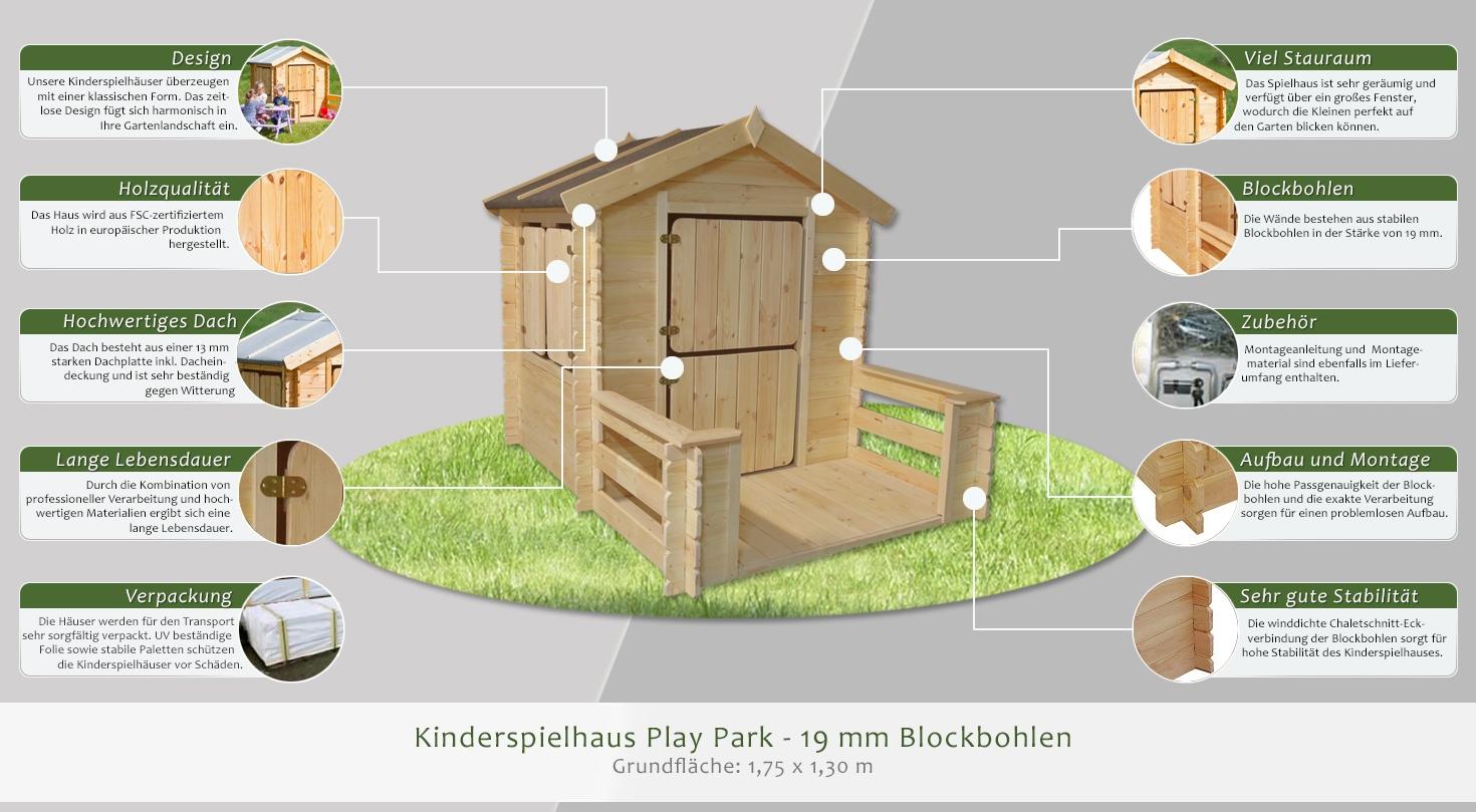 Kinder-Spielhaus Play Park - 122,122 x 122,12 Meter aus 1229mm Blockbohlen Einfach