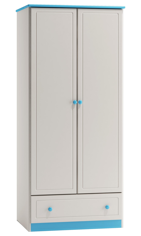 Kleiderschrank Kiefer Vollholz Massiv Blau 003 Abmessung 160 X