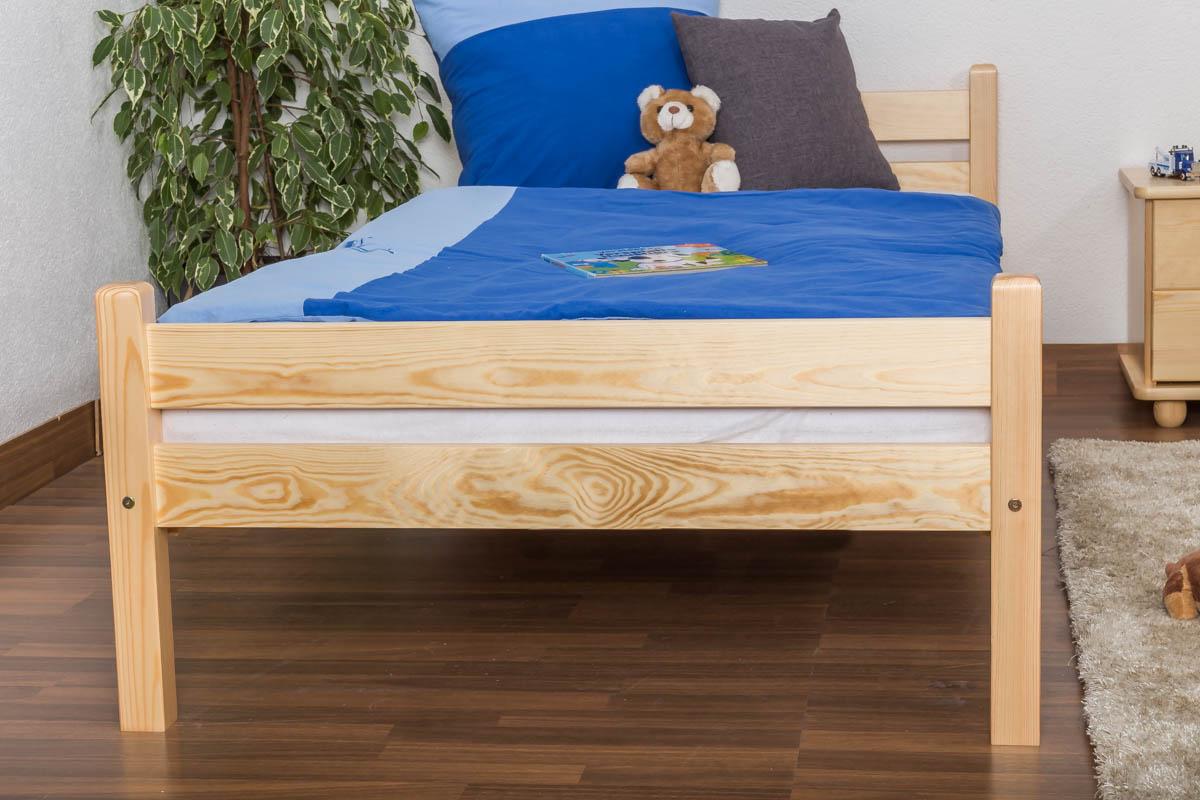 kinderbett jugendbett kiefer massiv vollholz natur 97 inkl lattenrost abmessung 90 x 200 cm. Black Bedroom Furniture Sets. Home Design Ideas