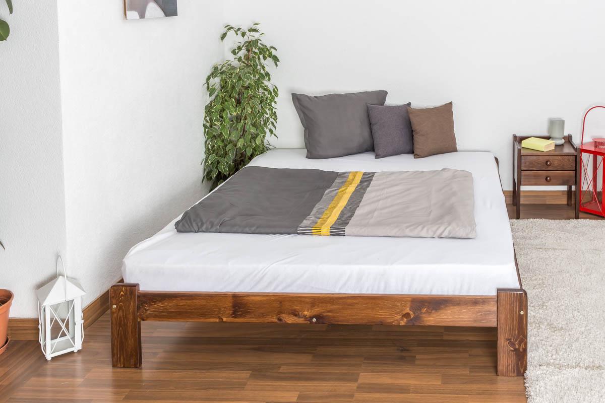 doppelbett g stebett kiefer vollholz massiv nussfarben a10 inkl lattenrost abmessung 160 x. Black Bedroom Furniture Sets. Home Design Ideas