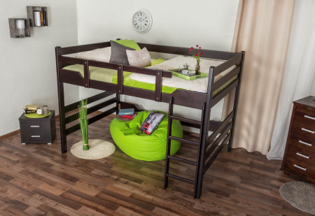 hochbett f r erwachsene easy premium line k15 n buche vollholz massiv schokobarun teilbar. Black Bedroom Furniture Sets. Home Design Ideas