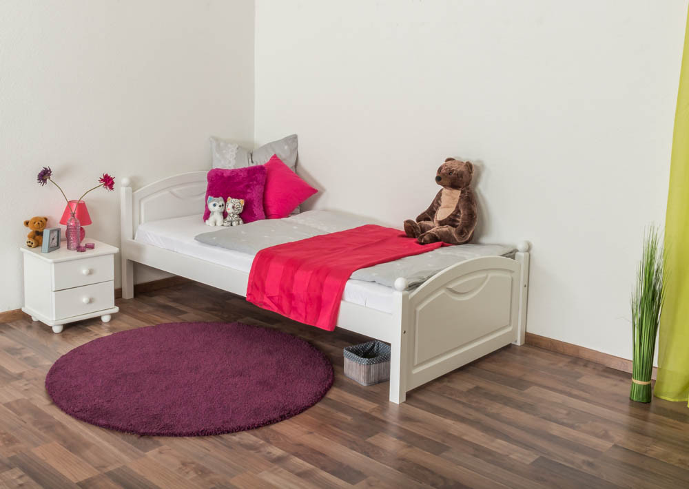 kinderbett jugendbett kiefer massiv vollholz wei lackiert 82 inkl lattenrost 100 x 200 cm. Black Bedroom Furniture Sets. Home Design Ideas