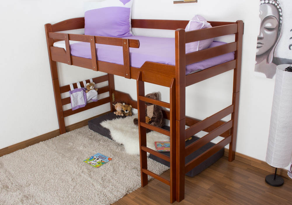 kinderbett hochbett easy m bel k14 n buche vollholz massiv kirschfarben ma e 90 x 190 cm. Black Bedroom Furniture Sets. Home Design Ideas
