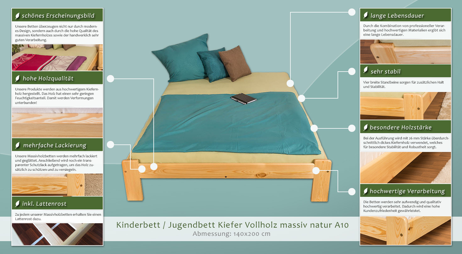 kinderbett jugendbett kiefer vollholz massiv natur a10 inkl lattenrost abmessung 140 x 200 cm. Black Bedroom Furniture Sets. Home Design Ideas