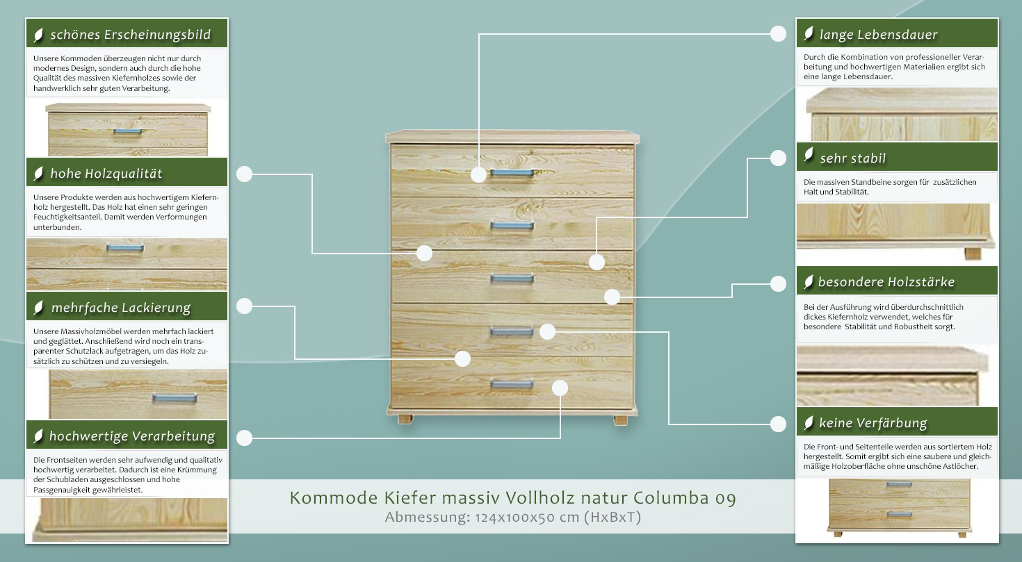 kommode kiefer massiv vollholz natur columba 09 abmessung 124 x 100 x 50 cm h x b x t. Black Bedroom Furniture Sets. Home Design Ideas