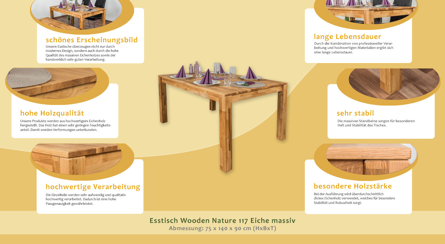 esstisch wooden nature 117 eiche massiv ge lt 140 x 90 cm b x t. Black Bedroom Furniture Sets. Home Design Ideas