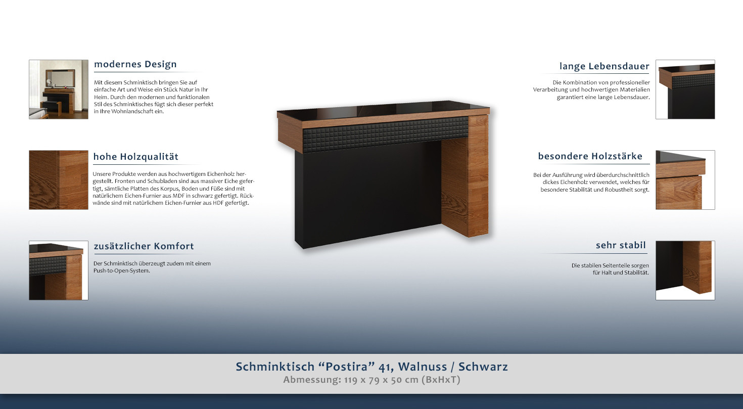 schminktisch schwarz. Black Bedroom Furniture Sets. Home Design Ideas