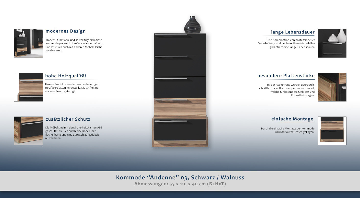 kommode andenne 03 schwarz walnuss abmessungen 110 x 55 x 40 cm h x b x t. Black Bedroom Furniture Sets. Home Design Ideas