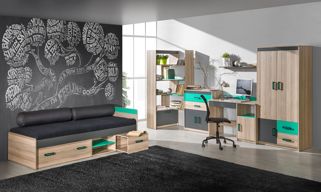 jugendzimmer dreht renschrank kleiderschrank elsa 02 farbe esche t rkis grau braun. Black Bedroom Furniture Sets. Home Design Ideas