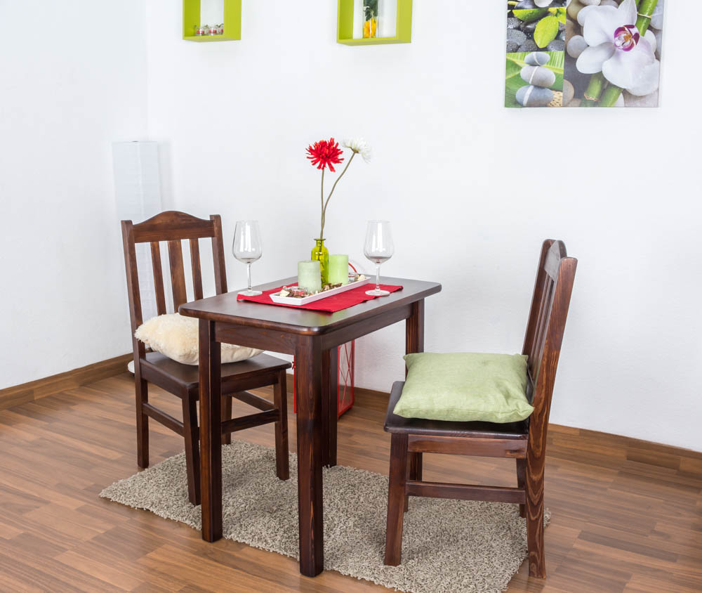 tisch kiefer massiv vollholz nussfarben 001 eckig abmessung 75 x 80 x 50 cm h x b x t. Black Bedroom Furniture Sets. Home Design Ideas