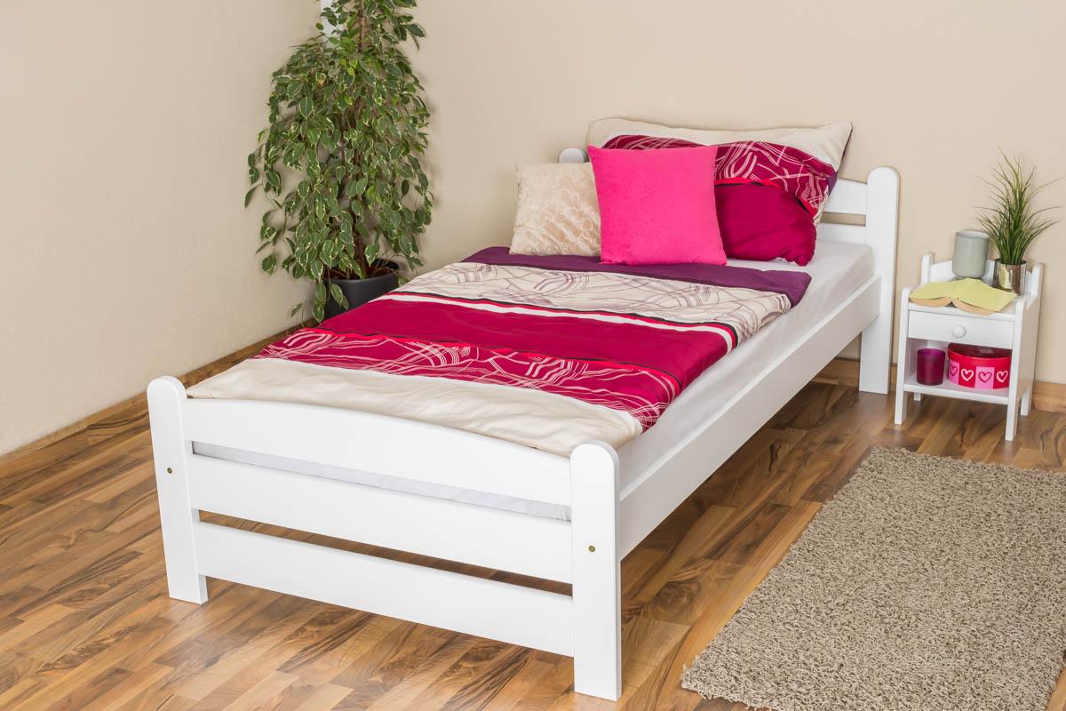 einzelbett g stebett buche massiv vollholz wei 118 inkl lattenrost abmessung 100 x 200 cm. Black Bedroom Furniture Sets. Home Design Ideas