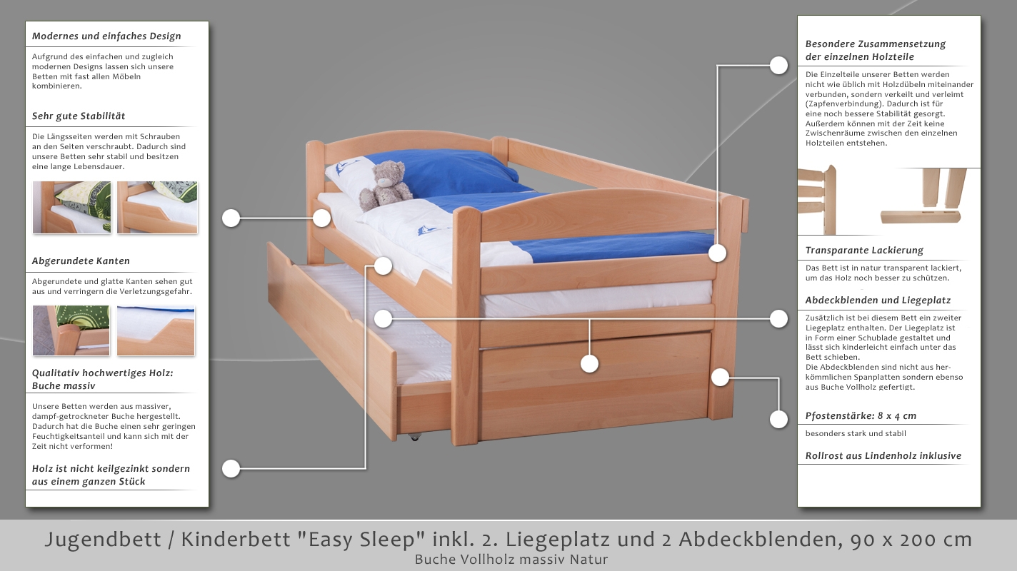 kinderbett jugendbett easy sleep k1 h s inkl 2 liegeplatz und 2 abdeckblenden 90 x 200 cm. Black Bedroom Furniture Sets. Home Design Ideas