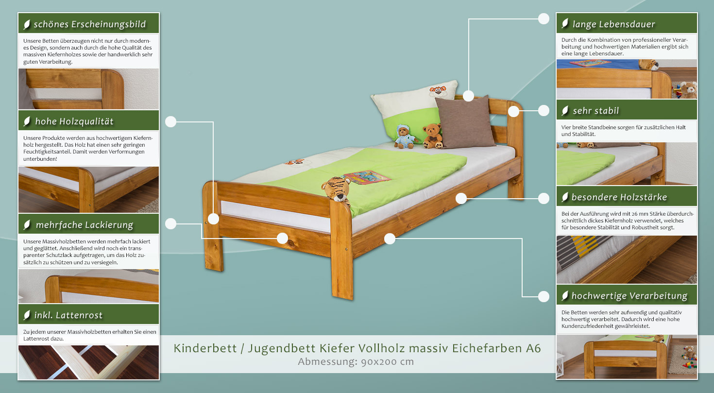 kinderbett jugendbett kiefer vollholz massiv eichefarben a6 inkl lattenrost abmessung 90 x. Black Bedroom Furniture Sets. Home Design Ideas