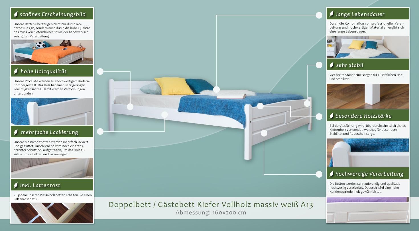 doppelbett g stebett kiefer vollholz massiv wei. Black Bedroom Furniture Sets. Home Design Ideas