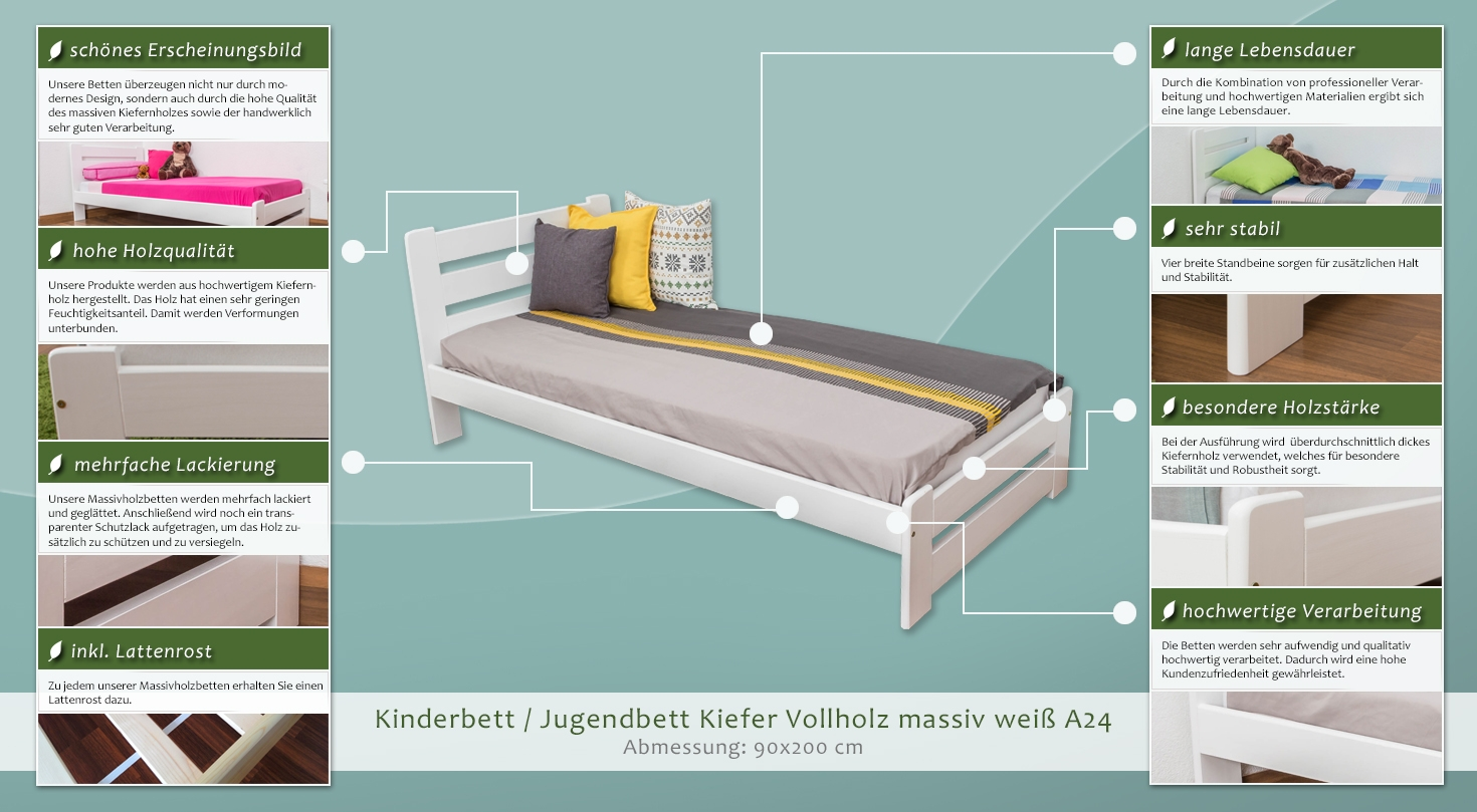 kinderbett jugendbett kiefer vollholz massiv wei lackiert a24 inkl lattenrost abmessung. Black Bedroom Furniture Sets. Home Design Ideas