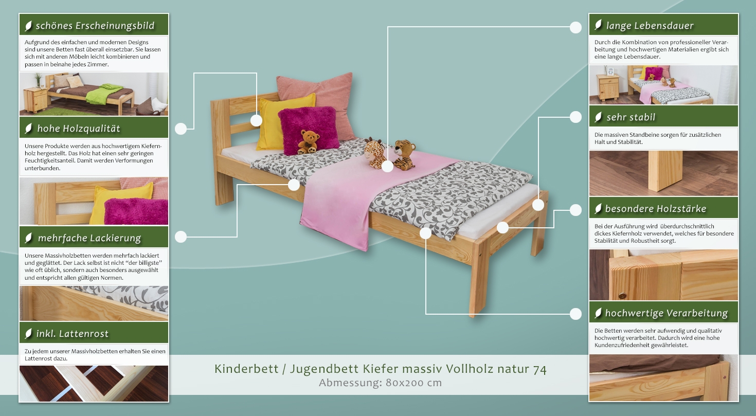 massiv vollholz natur 74 inkl lattenrost liegefl che 80 x 200 cm. Black Bedroom Furniture Sets. Home Design Ideas