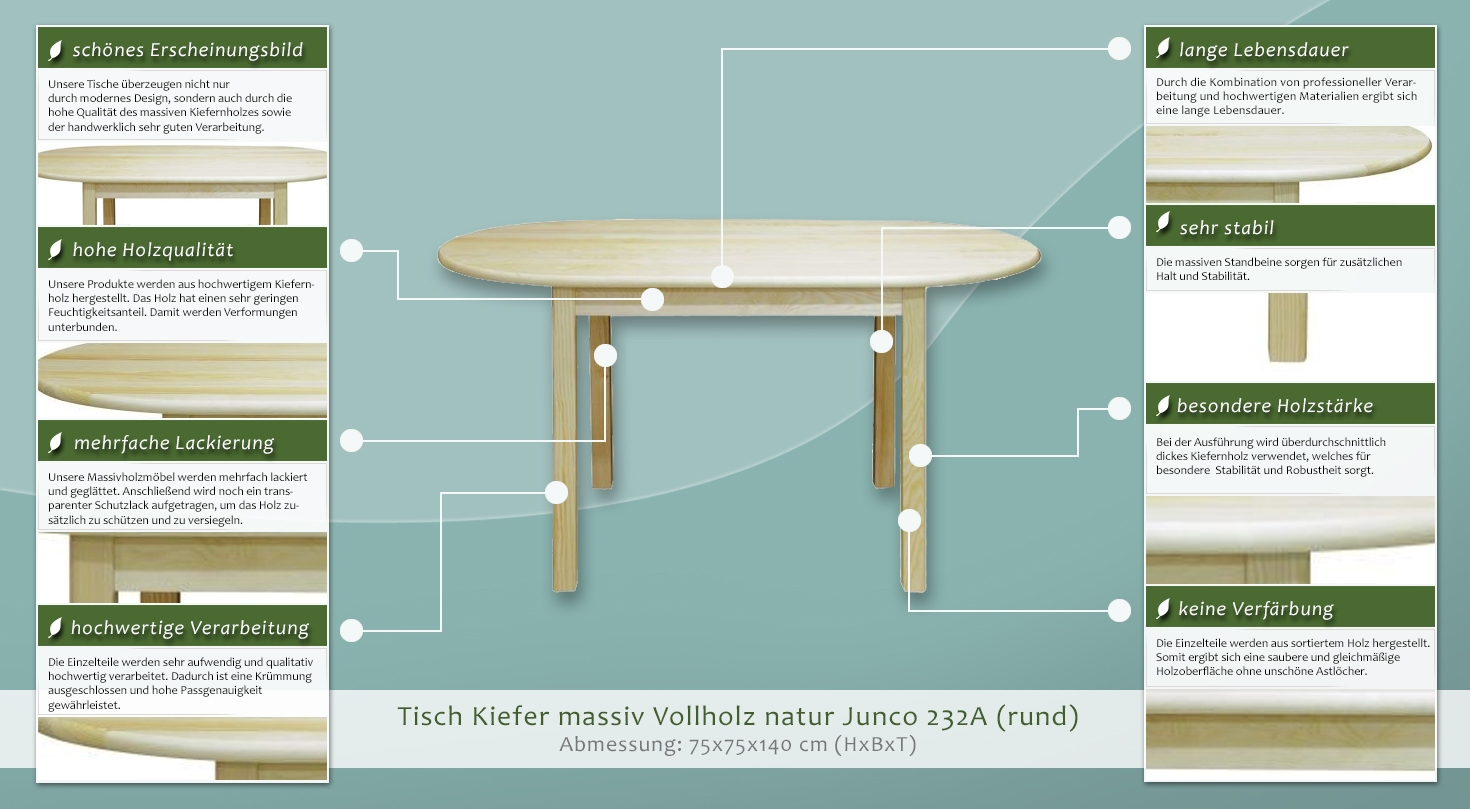 tisch kiefer massiv vollholz natur junco 232a abmessung 75 x 75 x 140 cm. Black Bedroom Furniture Sets. Home Design Ideas