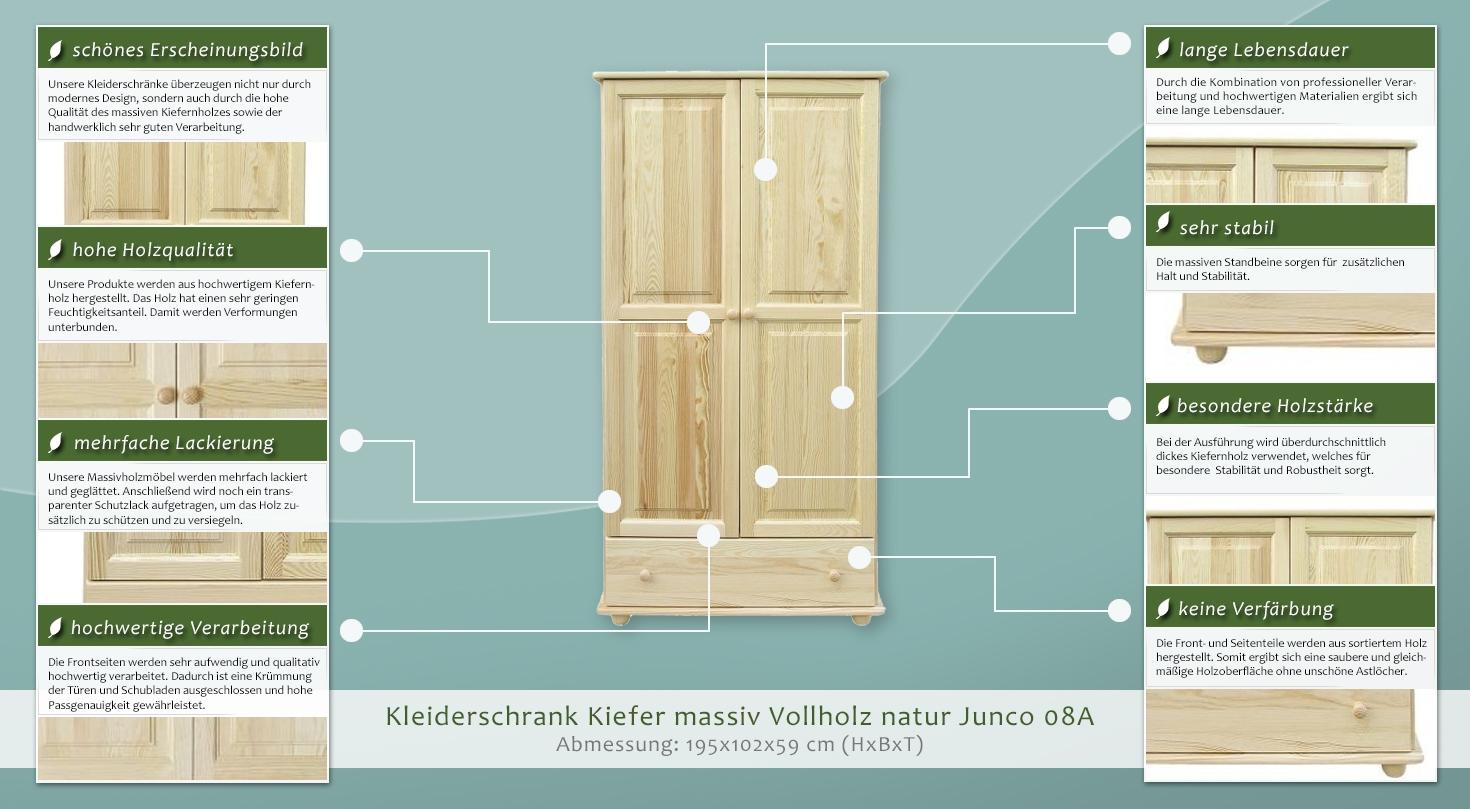 kleiderschrank kiefer vollholz massiv natur junco 08a abmessung 195 x 102 x 59 cm. Black Bedroom Furniture Sets. Home Design Ideas