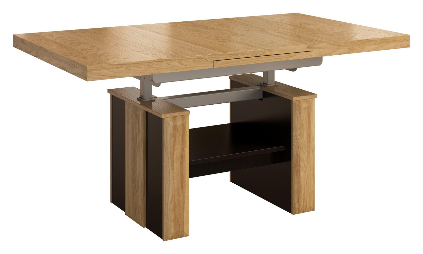 h henverstellbarer couchtisch belica 09 farbe eiche natur schwarz abmessungen 130 170. Black Bedroom Furniture Sets. Home Design Ideas
