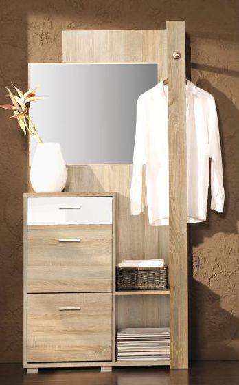 Garderobe Tremelo 02 Eiche Sonoma Weiß Glänzend Abmessungen