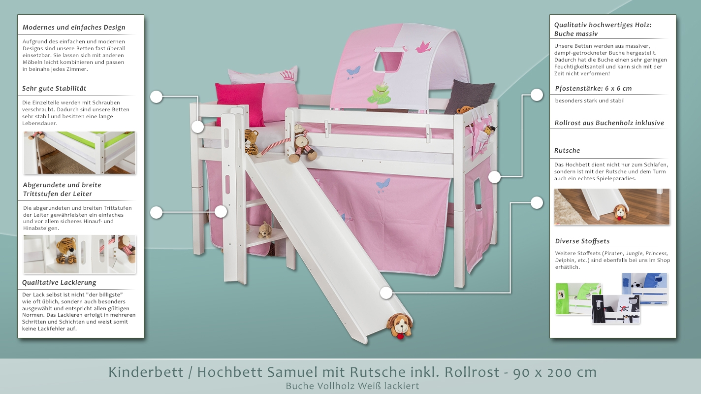 kinderbett hochbett samuel buche vollholz massiv mit rutsche wei lackiert inkl rollrost 90 x. Black Bedroom Furniture Sets. Home Design Ideas