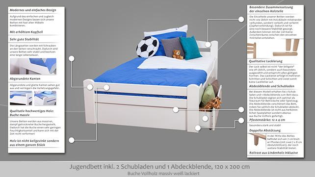 jugendbett easy m bel k4 inkl 2 schubladen und 1 abdeckblende 120 x 200 cm buche vollholz. Black Bedroom Furniture Sets. Home Design Ideas