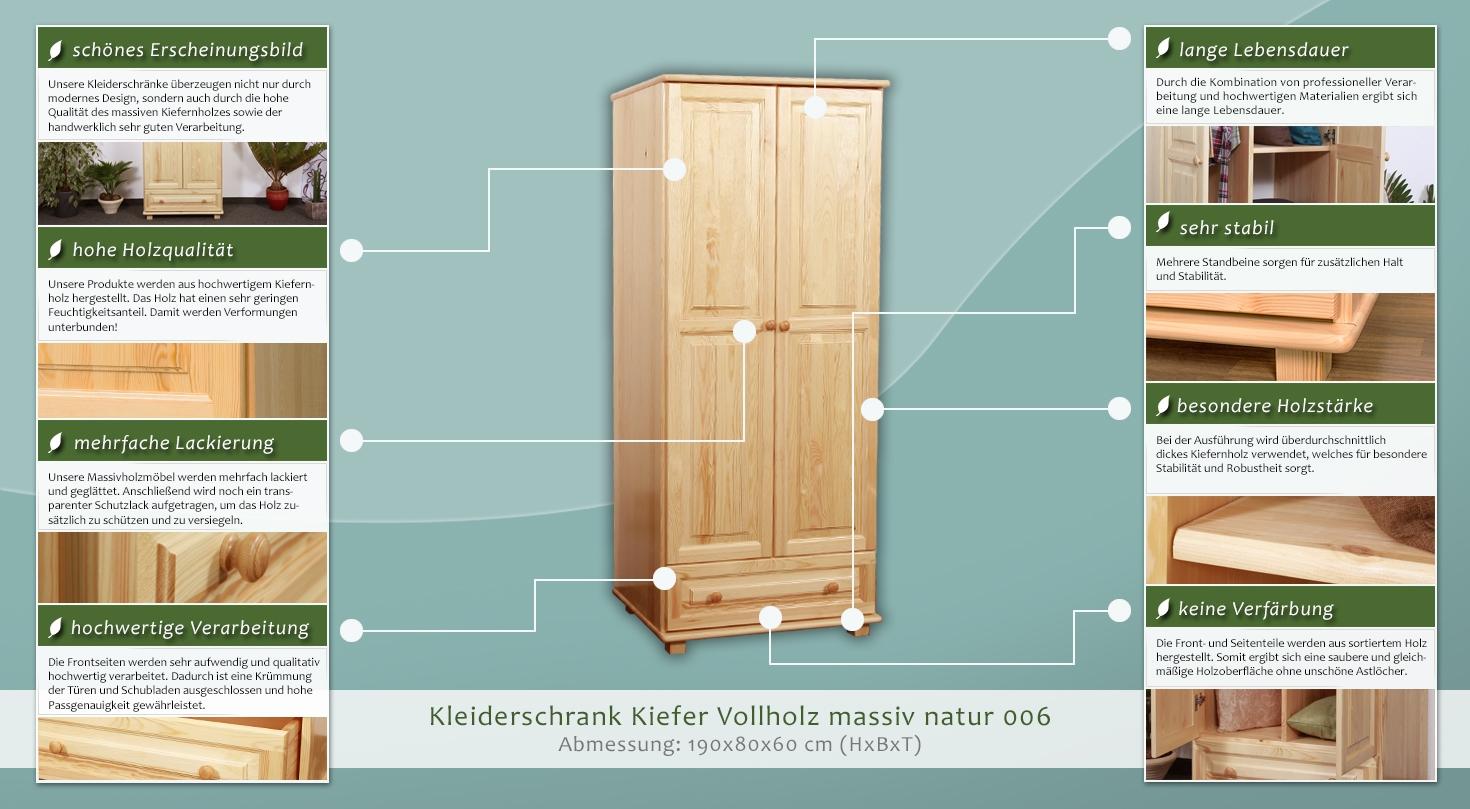 kleiderschrank t ren 2 h he cm 190 l nge tiefe cm 60 breite cm 80 massivholz. Black Bedroom Furniture Sets. Home Design Ideas