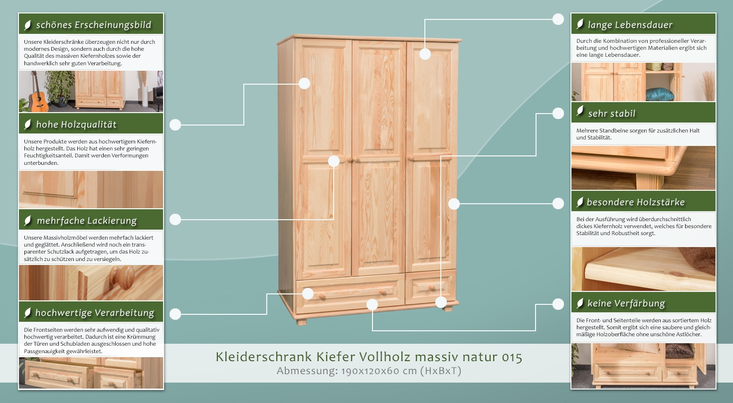kleiderschrank kiefer vollholz massiv natur 015 abmessung 190 x 120 x 60 cm h x b x t. Black Bedroom Furniture Sets. Home Design Ideas