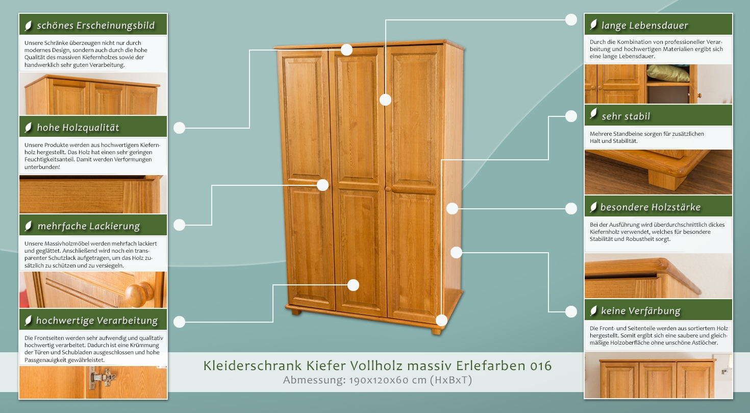 echtholz schrank farbe erle 190x120x60 cm t ren 3 h he cm 190 l nge tiefe cm 60 breite. Black Bedroom Furniture Sets. Home Design Ideas