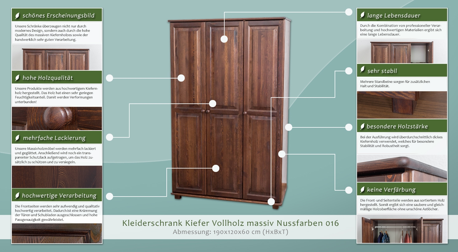 kasten farbe nuss 190x120x60 cm t ren 3 h he cm 190 l nge tiefe cm 60 breite cm 120. Black Bedroom Furniture Sets. Home Design Ideas