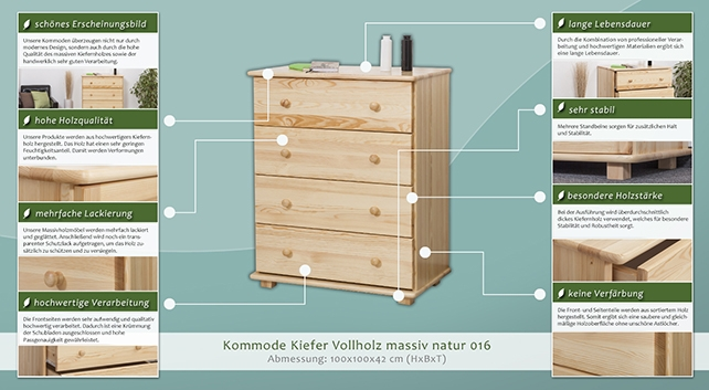 sideboard mit 4 schubladen farbe natur breite 100 cm k chenschrank anrichte sideboard. Black Bedroom Furniture Sets. Home Design Ideas
