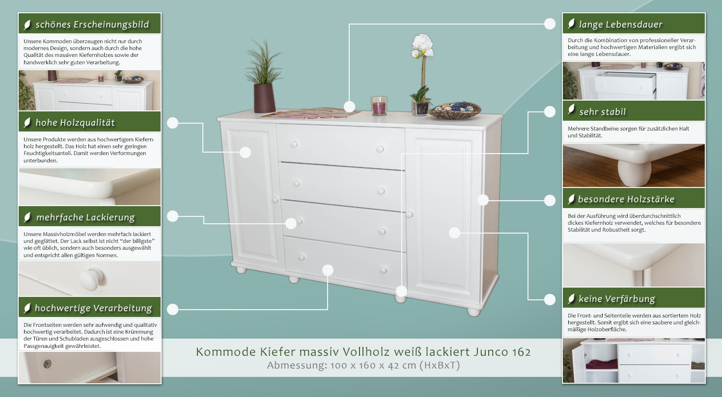 wohnzimmerschrank kommode 160 cm breit t ren 2 h he. Black Bedroom Furniture Sets. Home Design Ideas