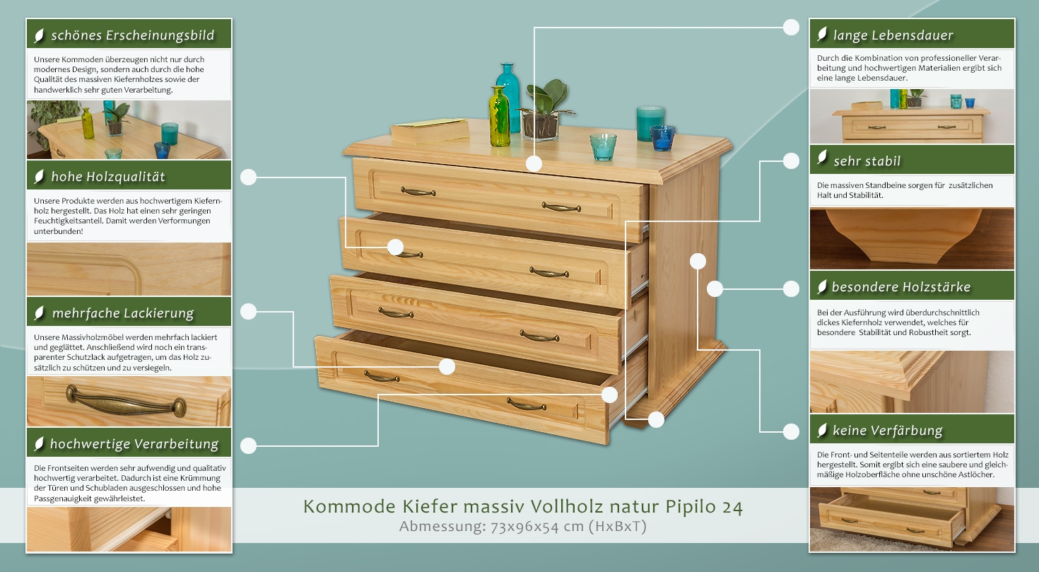 kommode kiefer massiv vollholz natur pipilo 24 abmessung 73 x 96 x 54 cm h x b x t. Black Bedroom Furniture Sets. Home Design Ideas
