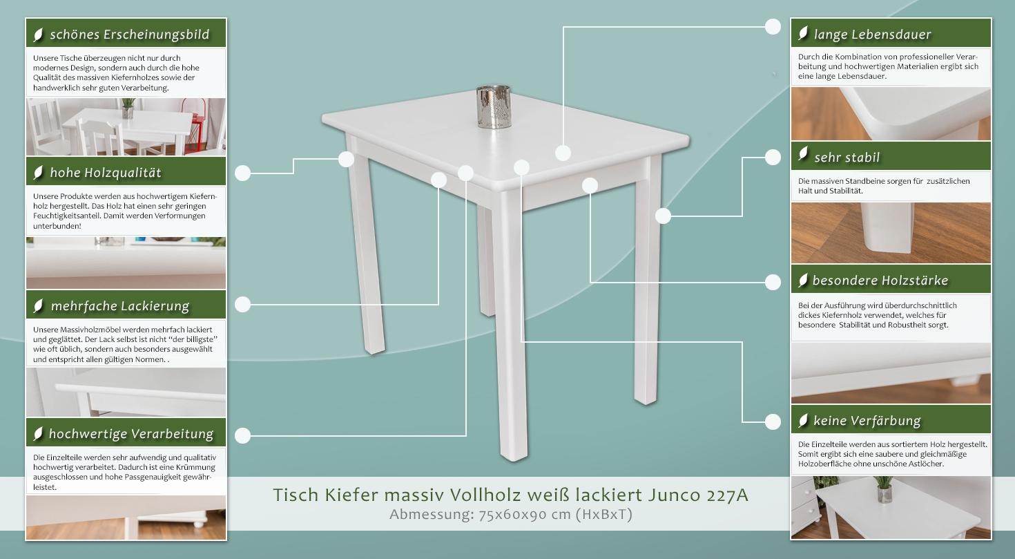 tisch 60x90 cm kiefer massiv farbe wei h he cm 75 l nge tiefe cm 90 breite cm 60. Black Bedroom Furniture Sets. Home Design Ideas